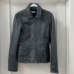 Vince metallic gray leather Moto  jacket